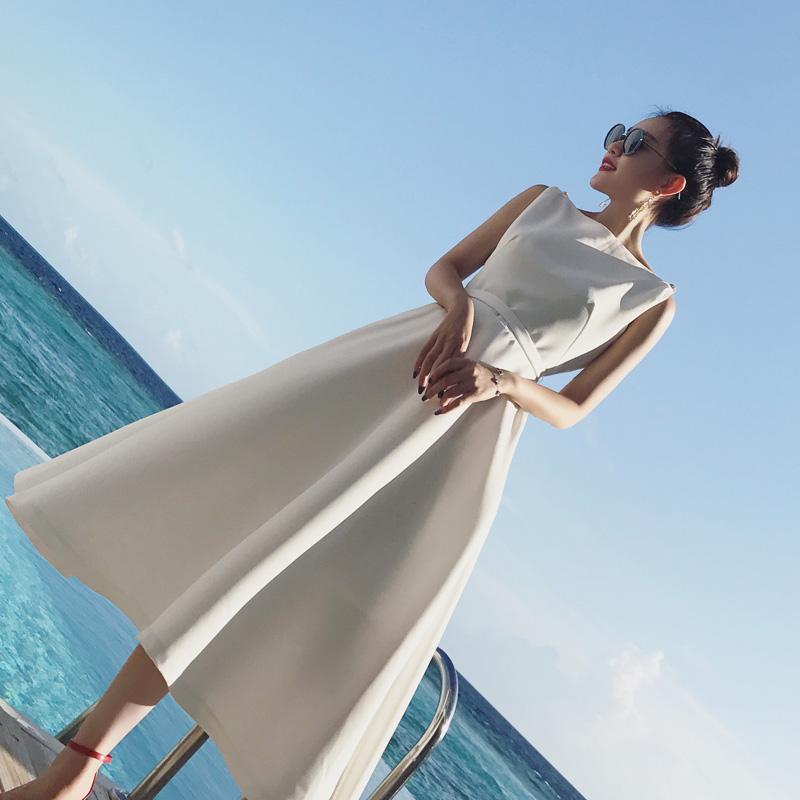 2018秋装新款名媛气质礼服裙中长款一字领正式场合白色连衣裙女
