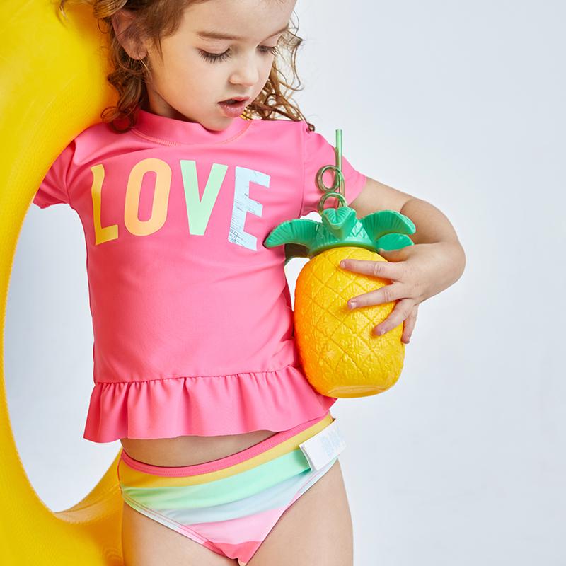 海边度假绮童堡2020夏季新款女小童短袖分体泳衣两件套