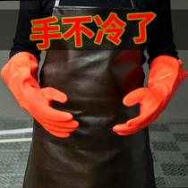 洗车手套防水专用冬季加绒加厚毛绒保暖橡胶冬天擦车手套防冻工具