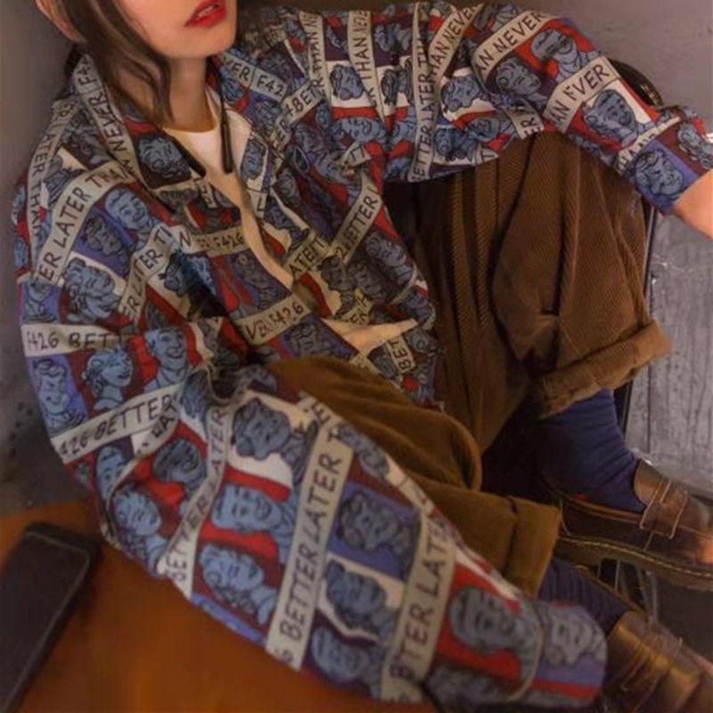 【F426官方店】国潮牌春情侣嘻哈三色满印人物夏威夷风格衬衫外套