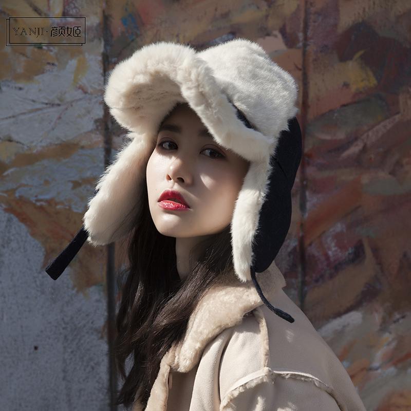 冬天加厚保暖护耳雷锋帽韩版新款羊羔毛飞行帽男女毛呢棒球帽子潮