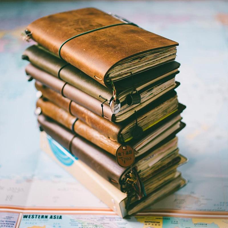 瑕疵捡漏牛皮笔记本日式旅行手帐活页日记本复古记事本子tn手账本