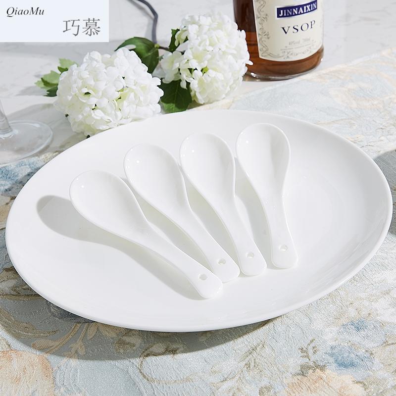 巧慕56头高档纯白色简约骨瓷餐具套装创意碗盘子家用方形组合碗碟 天猫优惠券:满2000元减200元