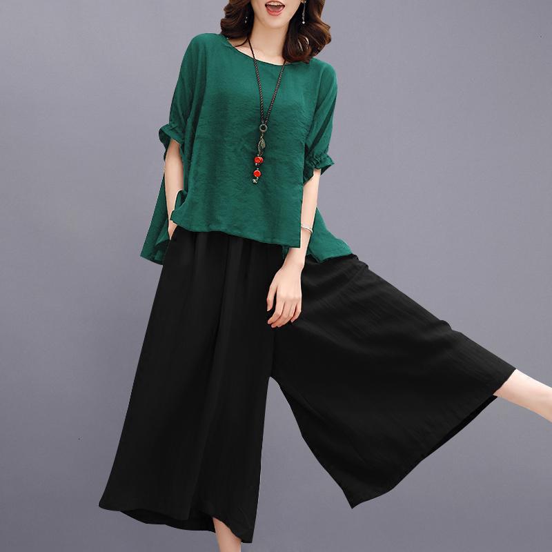 中年女装妈妈夏装阔太太套装洋气高贵母亲节衣服大码棉麻两件套装