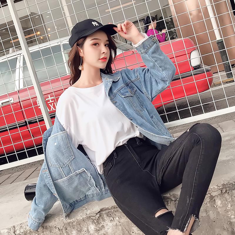 实拍现货短款牛仔外套女2020春季新款韩版修身显瘦字母刺绣上衣潮 -