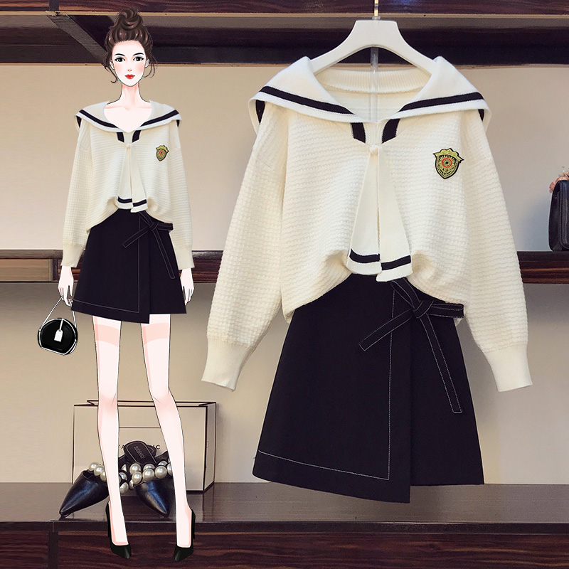 实拍微胖妹妹大码女装2020年秋装新款减龄针织毛衣半身裙两件套装-牛牛大码-