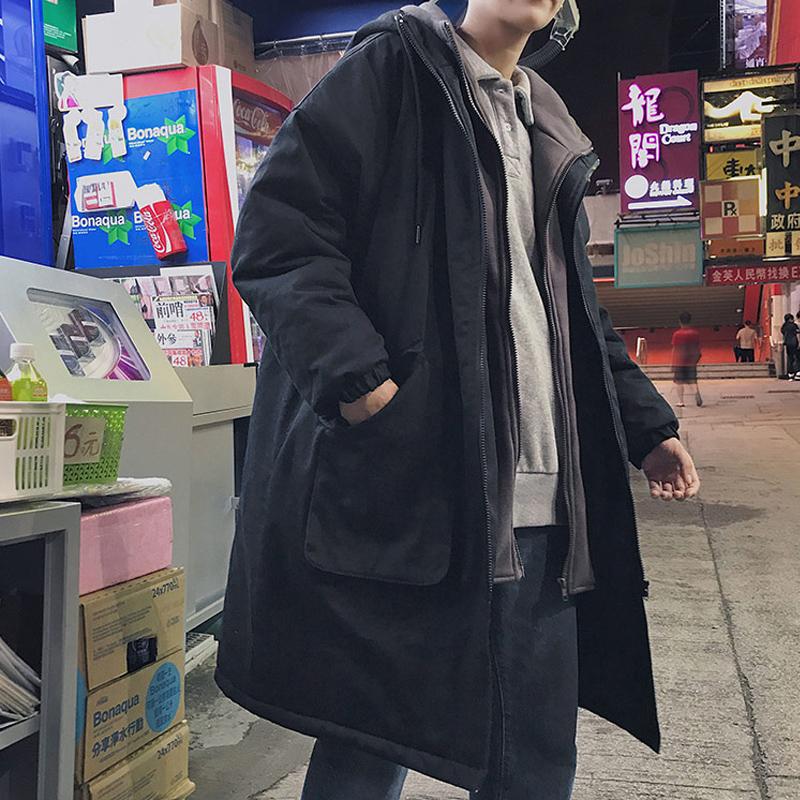 棉服男冬季外套ins中长款韩版潮流港风chic羽绒棉衣工装棉袄冬装