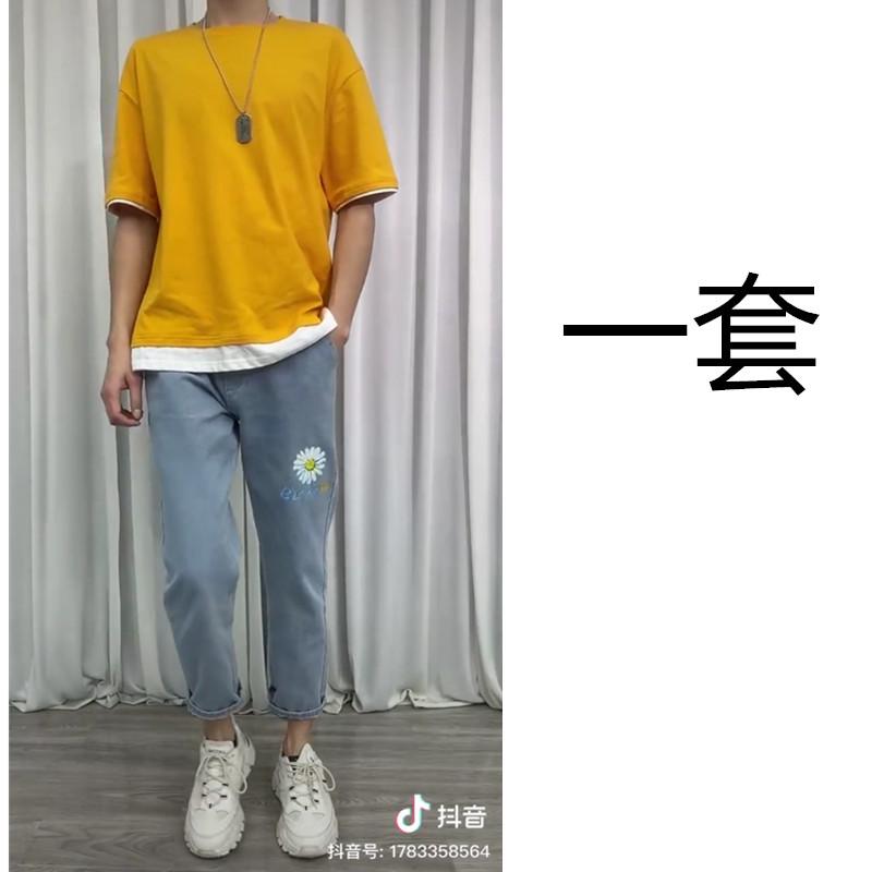 【套装】男士夏季宽松圆领假两件短袖T恤夏天潮男半袖体恤港风潮