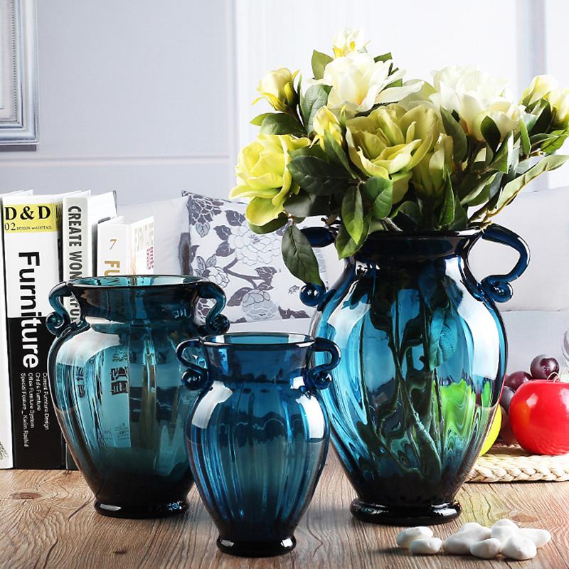 点击查看商品:欧式彩色玻璃花瓶摆件客厅插花水培简约玻璃透明鲜花富贵竹餐厅