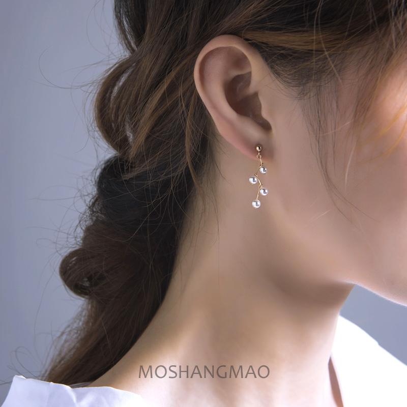 原创手作美国进口14K包金珍珠耳环简约短款耳钉日韩时尚耳饰品