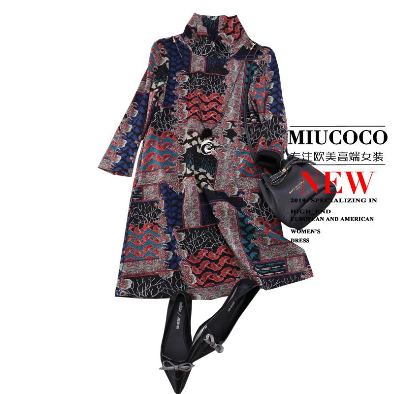 秋冬新品重磅上新,提前收藏复古花色高领A字连衣裙女CCYG