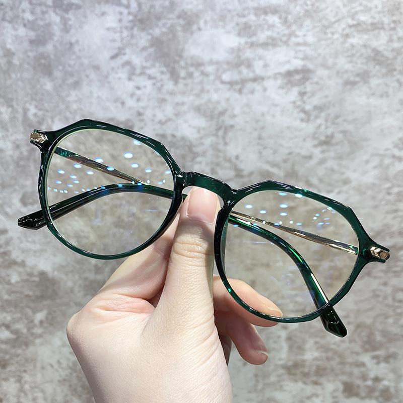 超轻绿色眼镜框架女网红款可配镜片有度数大脸显瘦网上配眼镜近视