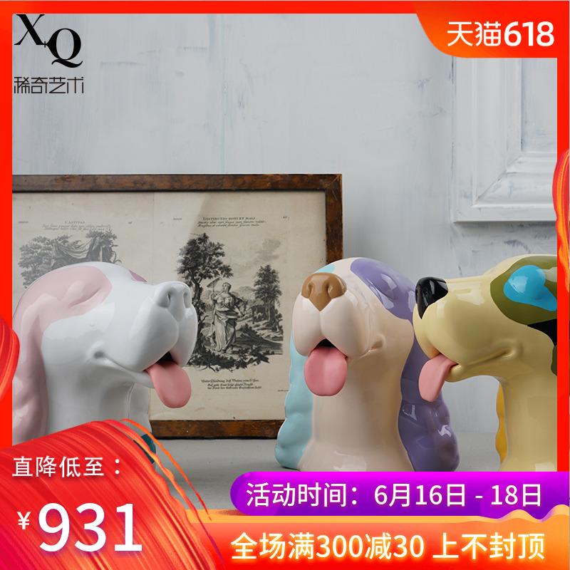 稀奇艺术生肖摆件向京雕塑《梦幸福-旺旺》可爱陶瓷存钱罐储蓄罐