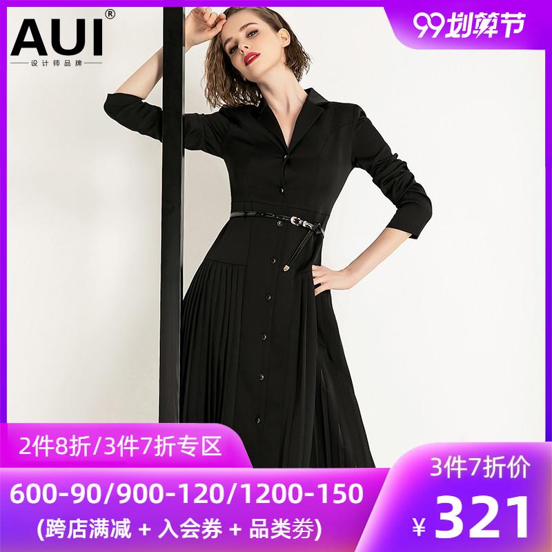 2020年春装新款女装衬衫裙黑色收腰气质女神范衣服西装百褶连衣裙