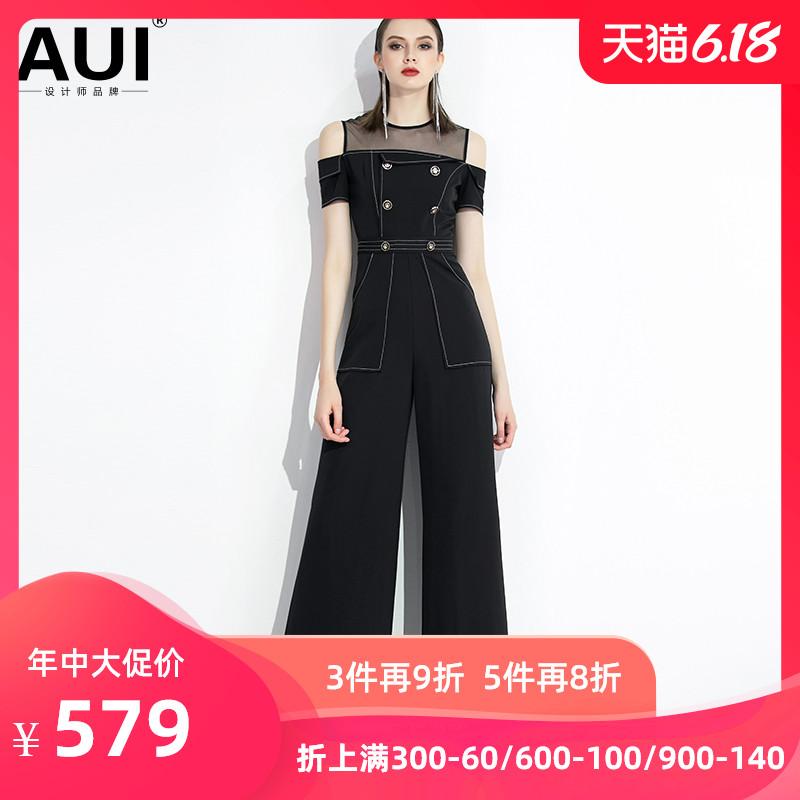 2020夏新款女装黑色时尚高腰显瘦连体裤气质女神范阔腿裤连衣裤女