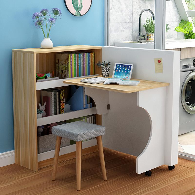创意儿童书桌旋转折叠桌书架书柜组合一体写字简约北欧小户型学生