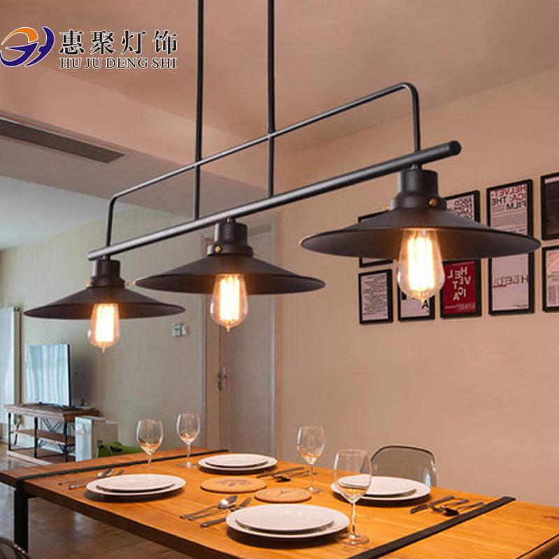 美式乡村简约餐厅吊灯3头复古风格铁艺灯具卧室书房酒吧台艺术灯