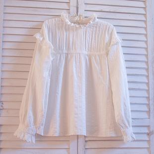 韩国娃娃衫上衣韩版仙可爱蓬蓬下摆宽松宫廷风荷叶花边立领衬衫女图片