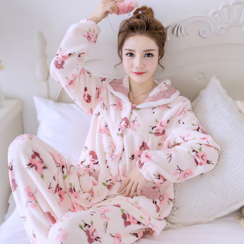 睡衣女冬季珊瑚绒加厚保暖加绒套装法兰绒长袖秋[天猫商城]