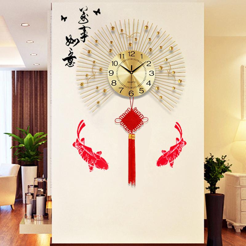 中国结钟表挂钟客厅现代简约壁挂钟表创意卧室时钟静音石英钟夜光