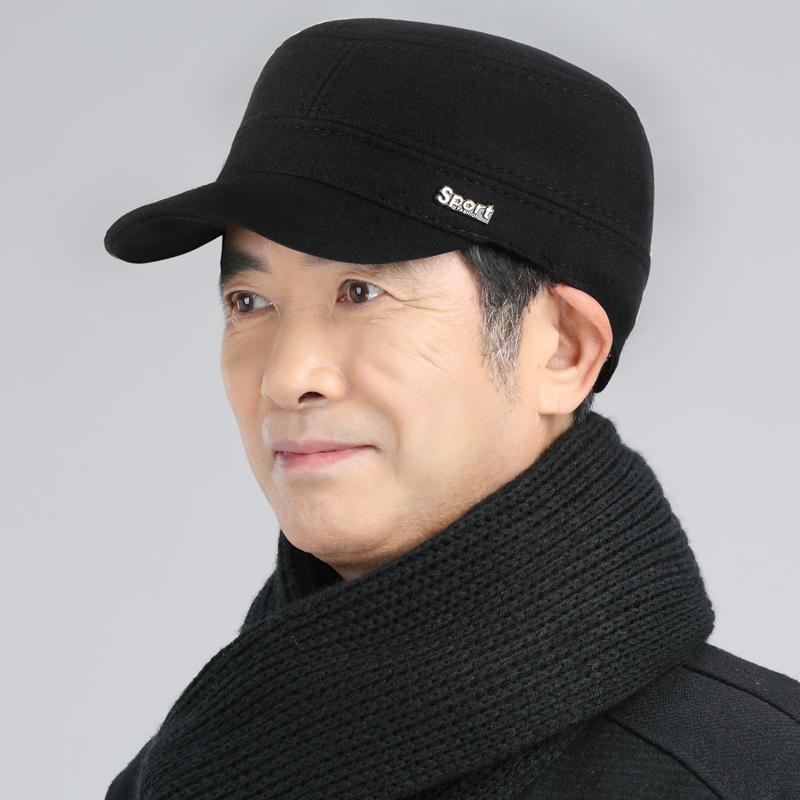 中老年帽子男士冬季老人平顶帽鸭舌帽加厚保暖护耳军帽爸爸帽冬天