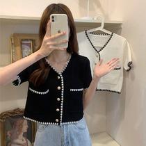 小香风上衣女夏短袖白色t恤2021年新款开衫外套短款V领冰丝针织衫