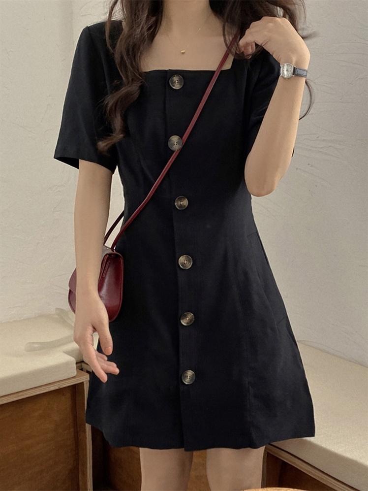 夏装2020新款韩版收腰显瘦方领短袖小黑裙洋气百搭简约连衣裙女潮