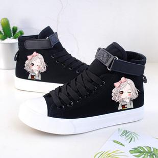 韩版秋冬加绒高帮儿童帆布鞋女童大童黑色布鞋学生休闲鞋板鞋潮鞋