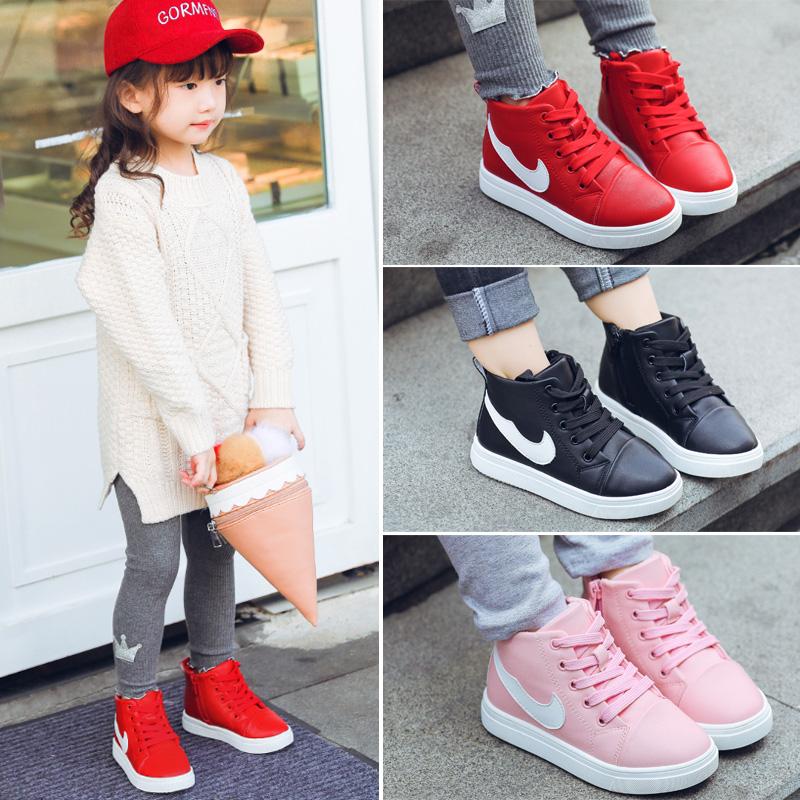 女童鞋子冬季2017新款百搭韩版中大童秋款加绒儿童高帮休闲运动鞋