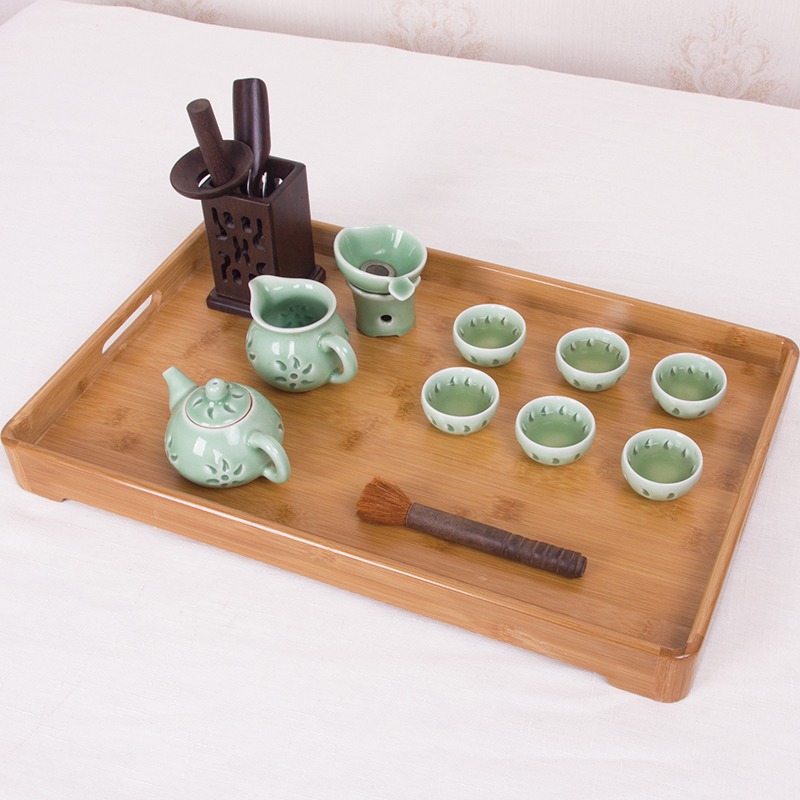 茶盘家用托盘小竹盘套装竹制茶具大号茶台简约茶盘茶海托干泡台盘
