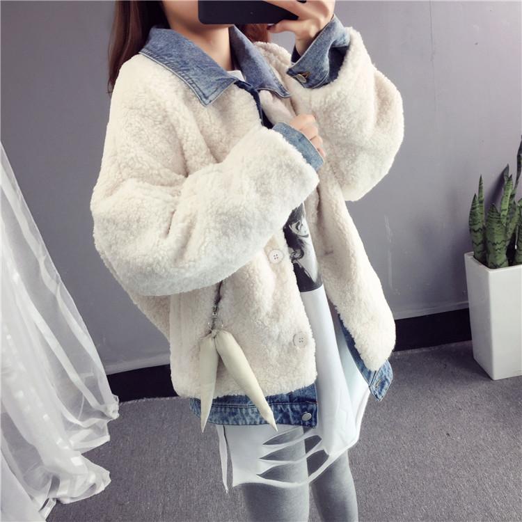 2018秋冬新款韩版短款优雅羊羔毛牛仔翻领假两件开衫短外套女加厚