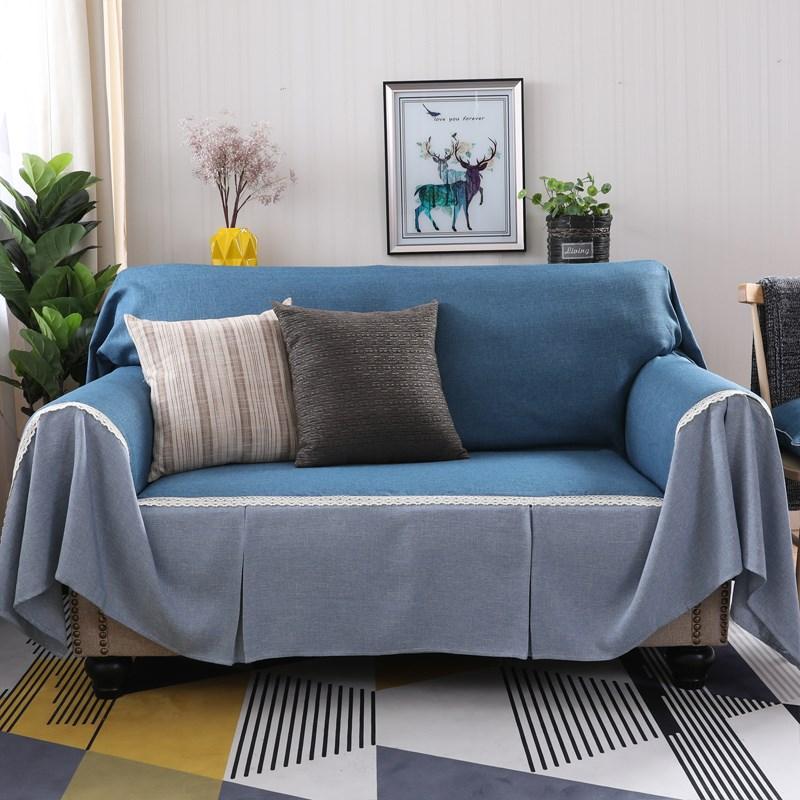 文艺小清新绒布沙发巾全盖简约现代沙发垫布艺沙发套四季通用盖布