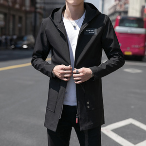 Men's jacket 2019 spring and autumn Korean version of the trendy handsome mid-length windbreaker men's thin casual jacket clothes