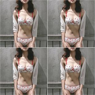 小清新内衣少女生日系一套装多情猫聚拢无钢圈小胸萝莉可爱文胸罩