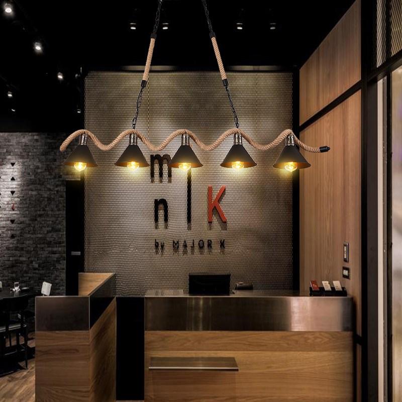 麻绳吊灯美式咖啡厅个性创意服装店工业风餐厅铁艺复古酒吧台吊灯-u[3071275681]