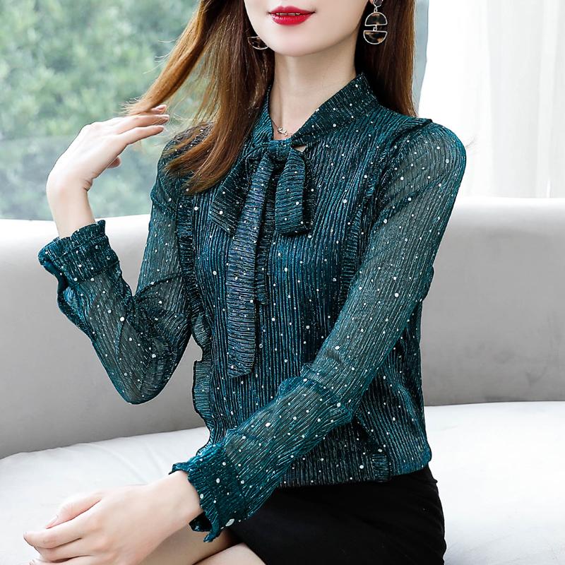 2019秋装新款小衫遮肚子雪纺衫洋气衬衫女长袖上衣内搭网纱打底衫图片