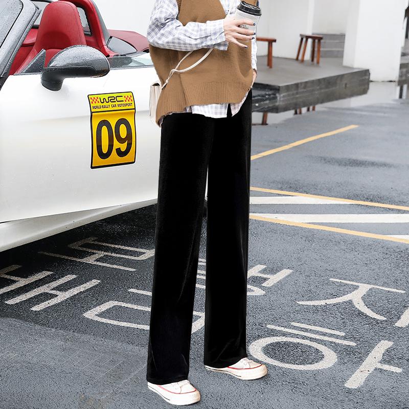 金丝绒阔腿裤女秋冬季高腰垂感宽松直筒加绒加厚坠感丝绒拖地长裤