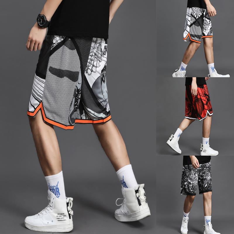 夏季漫画篮球裤男运动跑步街球短裤训练宽松过膝五分嘻哈国潮裤子
