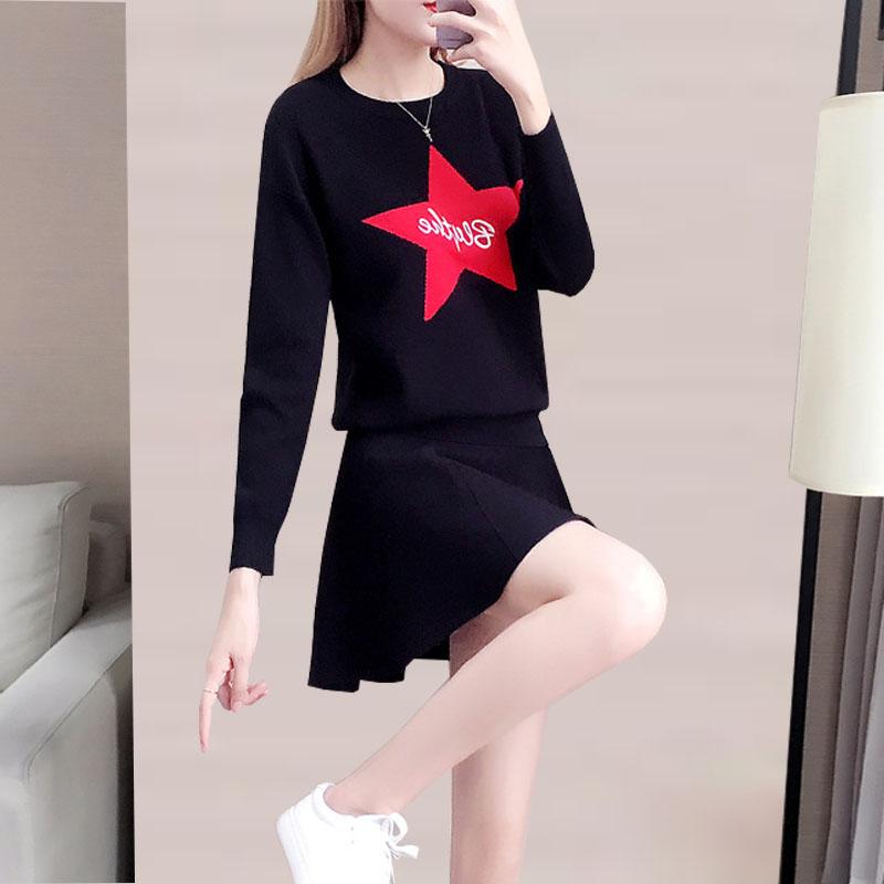 时尚撞色套装女2019秋冬季新款韩版五角星毛衣短裙针织两件套装裙
