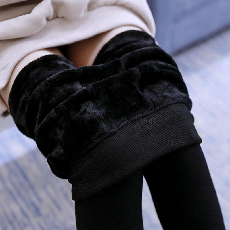加絨加厚打底褲女士鼕季外穿高腰顯瘦保暖褲子九分褲秋鼕黑色長褲