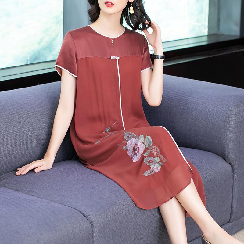 真丝连衣裙新款夏装加肥加大码中年妈妈装桑蚕丝长裙宽松绣花裙子-卡西法-