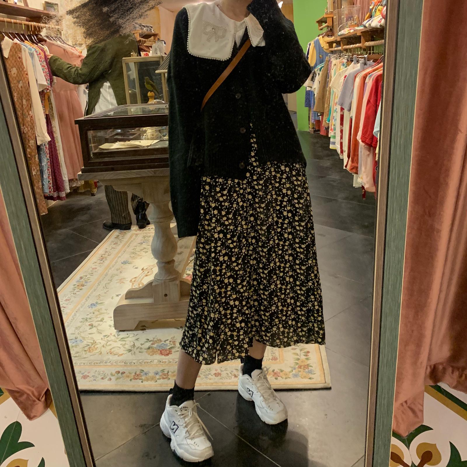 NAOAO 2019新款秋季高腰a字碎花半身裙复古中长款雪纺日系大摆裙