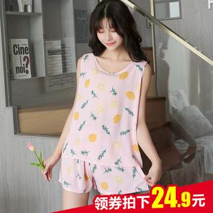夏季无袖 棉绸睡衣短袖两件套装