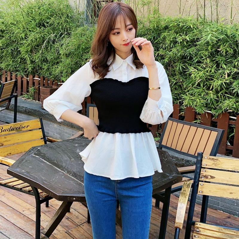 2020夏新款薄款白衬衫女时尚洋气西装领五分袖针织拼接衬衣女
