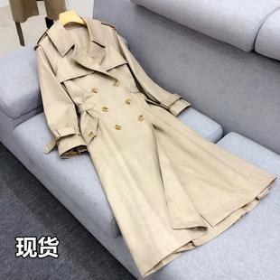 韩版双排扣卡其色显瘦修身收腰裙摆式中长款过膝风衣外套女春秋装