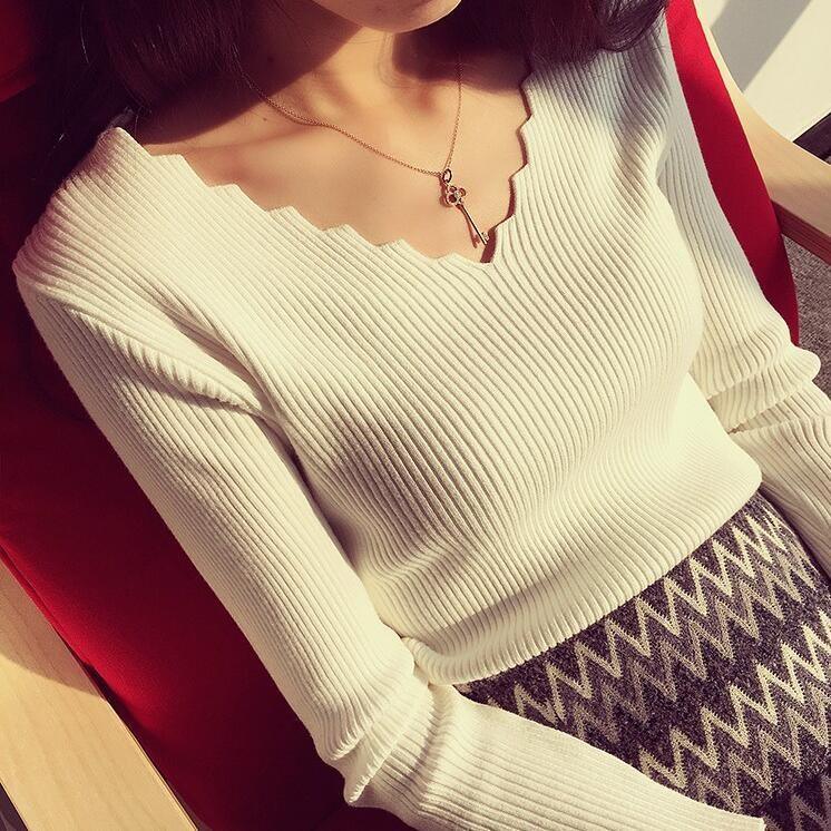 韩版秋冬新款波浪V领套头毛衣女修身内搭针织衫短款长袖打底上衣