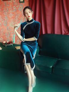 老上海复古名媛旗袍少女长款丝绒中国风年轻款优雅气质连衣裙春夏