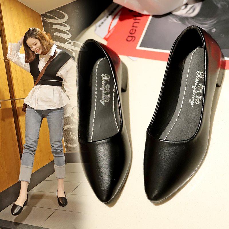 2019春新款浅口单鞋中跟小皮鞋学生尖头软底女鞋黑色低跟工作鞋子