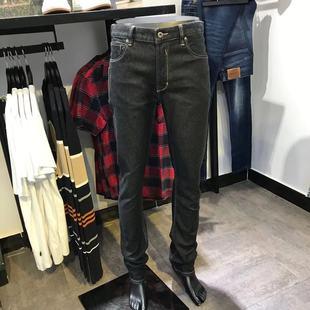 杰克琼斯男装品牌秋冬款厚弹力青年蓝黑小直筒牛仔裤男青年帅气