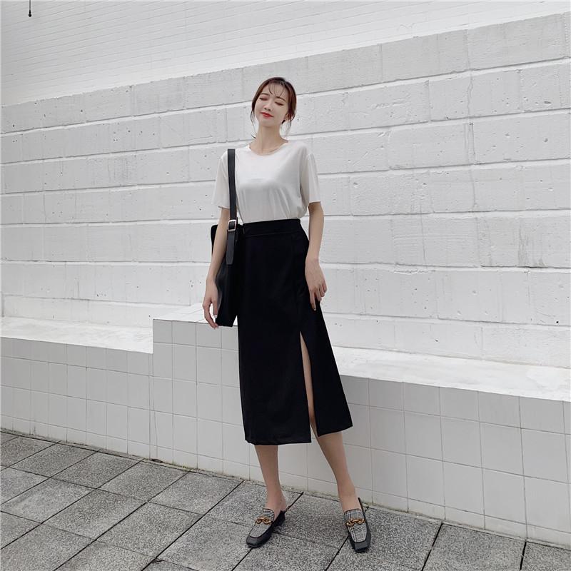 实拍实价~开叉一步裙港味半身裙显瘦中长款裙子高腰包臀-花仙子-
